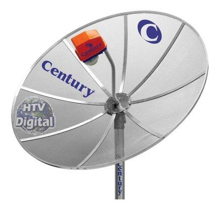 Antena Parabólica Century com Capa e Tubo Galvanizado 1,90m Especial para Sinal Digital HD