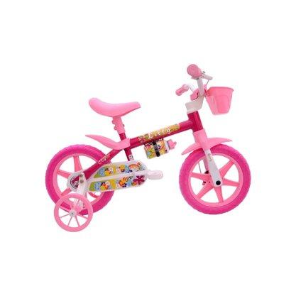 Bicicleta Cairu Aro12 Feminina  Flower - Rosa / Branco Lilly