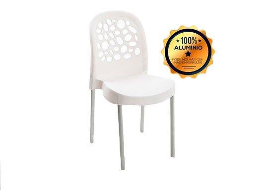 Cadeira Forte Plastico Deluxe Com Pernas Em Alumínio Branca