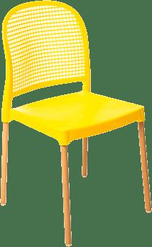 Cadeira Forte Plastico Vintage - Amarela