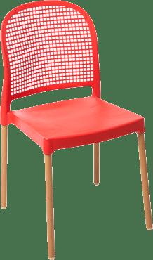 Cadeira Forte Plástico Vintage - Vermelha
