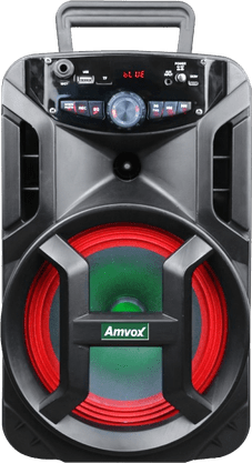 Caixa de Som Amplificada Bluetooth Portátil ( ACA-188 ) Gigante Amvox USB, SD, LED 180w  – Preto