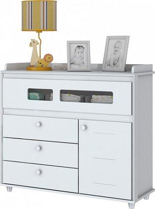Cômoda Henn Infantil Aquarela com 4 Gavetas e 1 Porta -  Branco (i712-10)
