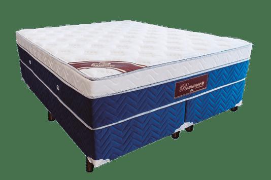 Conjunto Box Eurosono Romance Super King Base + Colchão com Molas Ensacadas e Pilow Eurotop 193x203x33 Cm – Azul / Branco