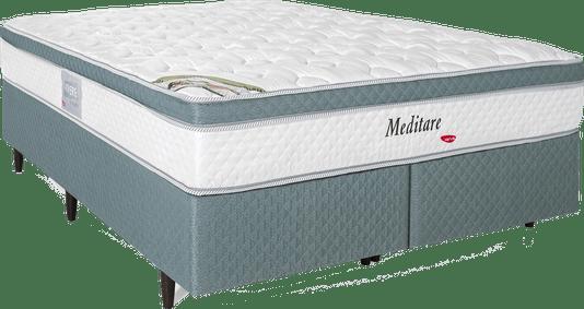 Conjunto Box Herval Meditare Queen Size + Colchão com Molas Pocket - 158x198x57cm – Verde/Branco.