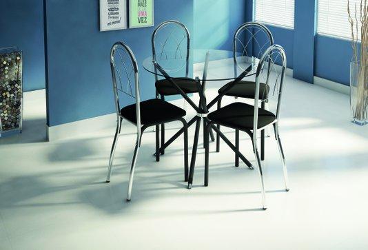 Conjunto de Mesa Tubform Madrid 4 Cadeiras Safira Tampo de Vidro Redondo 6mm – Preto