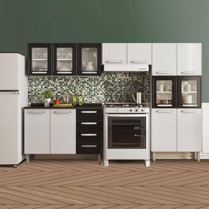 Cozinha completa em aço com paneleiro e balcão 4 módulos Bertolini Evidence - Branco / Preto