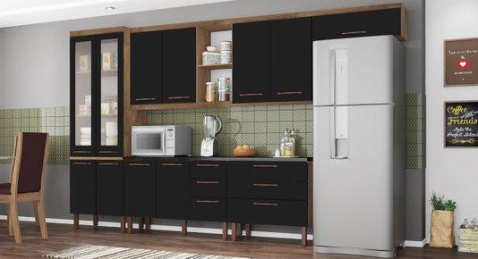 Cozinha Modulada Tuboarte Agata New 11 Portas e 6 Gavetas - Amêndoa / Preto
