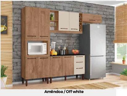Cozinha Tuboarte Malu 9 Portas 3 Gavetas -  Amendoa Off White
