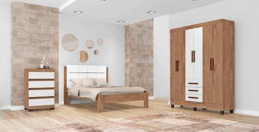 Dormitório Completo Tuboarte com Roupeiro Village 6 Portas + Cama Casal Verona + Cômoda Nilo 4 Gavetas - Amêndoa / Branco