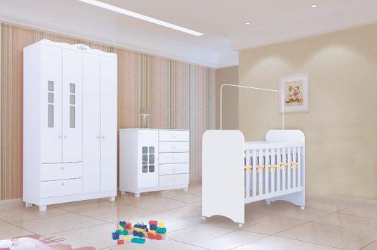 Dormitório Infantil Completo Tuboarte com Roupeiro Turquesa 4 Portas, Cômoda Safira 5 Gavetas e Berço - Branco