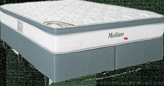 kit Box+Colchão Quenn Herval Molas Ensacadas Meditare 158x198x57 + Cabeçeira
