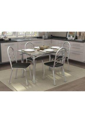 Mesa Elba com 4 Cadeiras Holanda Kappesberg (CMC305CR-31) – Linho/Marrom