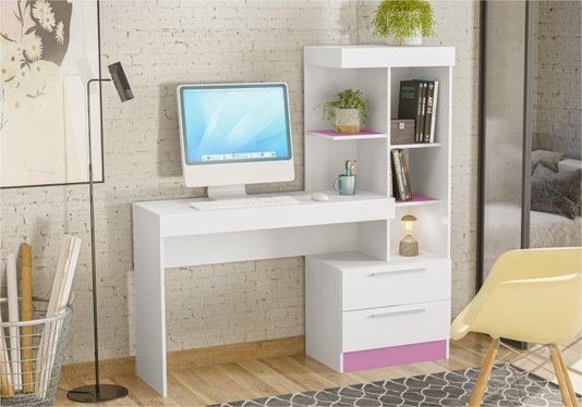 Mesa Notável Office com 2 Gavetas (Nt 2010) - Branco New/Rosa