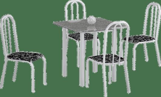 Mesa Thais Quadrada Com 4 Cadeiras Tampo de Granito 75x75 Cor Branco