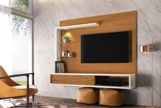 Painel bancada suspensa frizz select para tv de até 50 pol madetec – Naturale/off White