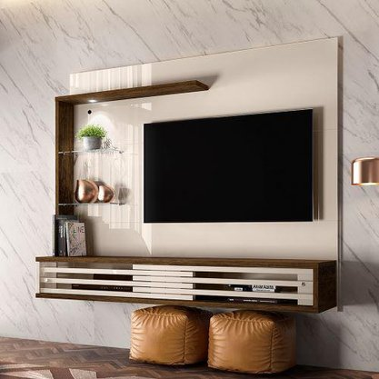 Painel bancada suspensa frizz select para tv de até 50 pol madetec – Off White/savana
