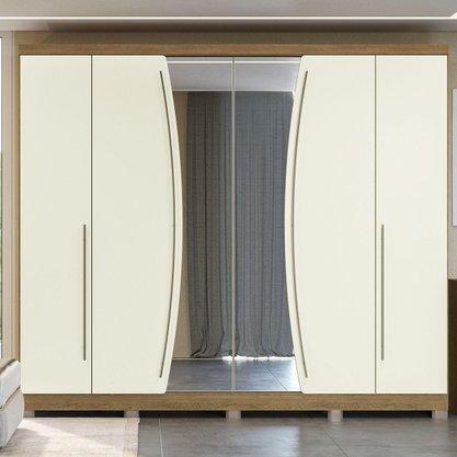 Roupeiro Casal Kappesberg (G540-frow) 6 Portas e 6 Gavetas com espelho - Freijó/ Off White