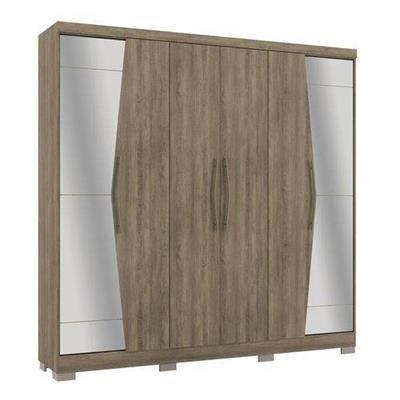 Roupeiro Kappesberg 6 Portas e 3 Gavetas (G543) com kit de Pés e Espelhos - Cor Nogal