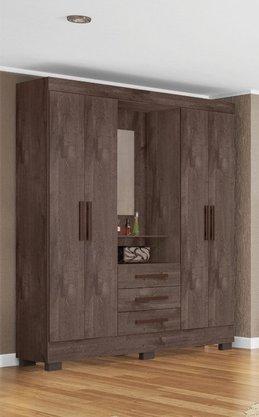 Roupeiro Tuboarte Onix New Com 4 Portas e 3 Gavetas Com espelho Cor Alamo/alamo