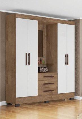 Roupeiro Tuboarte Ônix New Com 4 Portas e 3 Gavetas Com espelho Cor Amêndoa/branco