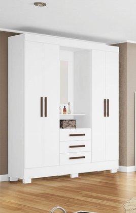 Roupeiro Tuboarte Onix New 4 Portas e 3 Gavetas C/Espelho - Branco