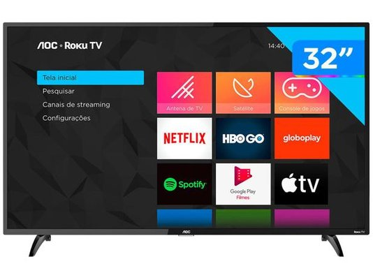 "Smart TV HD LED 32"" AOC (32S5195/78G) - Wi-Fi 3 HDMI 1 USB - Preto"