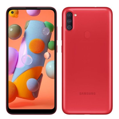 "Smartphone Samsung Galaxy A11(A115m) 64GB Dual Chip Android 10 Tela 6.4"" Octa-Core 4G Câmera Tripla 13MP+5MP+2MP - Vermelho"